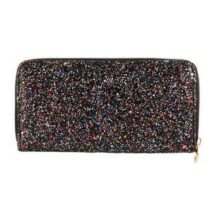 Handbags - Zipper Wallet -  Black Glitter Sparkle Pink Shine